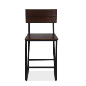 Mapai Walnut and Antique Zinc Counter Chair, Set of Two