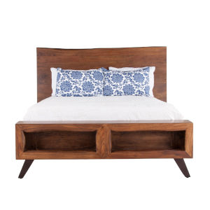 Nottingham Walnut and Antique Zinc Queen Bed