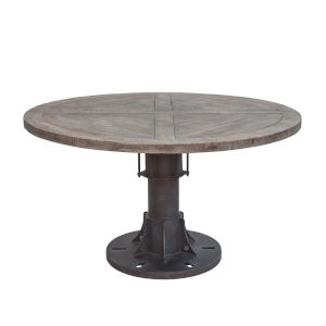 Sterling Natural Patina 54-Inch Round Reclaimed Teak Dining Table