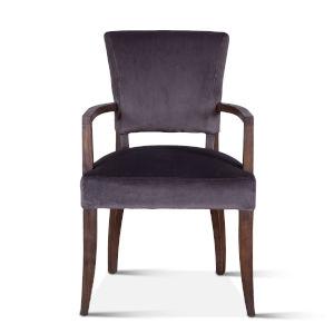 Portia Dark Gray and Weathered Teak Upholstered Armchair