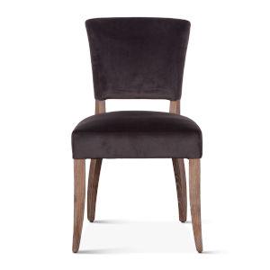 Portia Asphalt Gray and Whitewash Velvet Side Chair, Set of 2