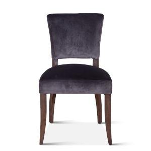 Portia Asphalt Gray and Weathered Teak Velvet Side Chair, Set of 2