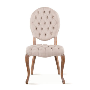 Portia Whitewash Tufted Chairs with Linen Back, Set of 2
