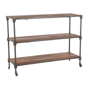 Paxton Weathered Walnut and Gray Zinc Console Table with Wheels