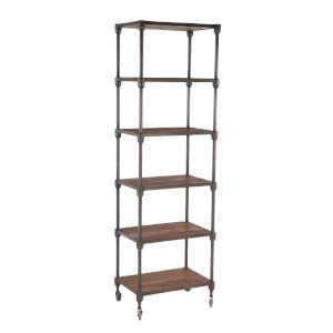 Paxton Weathered Walnut and Gray Zinc Bookshelf
