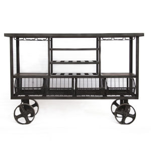Paxton Natural and Gray Zinc 60-Inch Reclaimed Teak Bar Cart