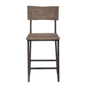 New Orleans Weathered Gray And Gun Metal Counter Chair, Set Of 2