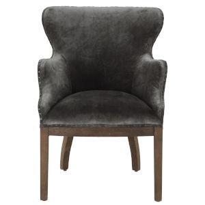 Charles Oak Dark Gray Armchair