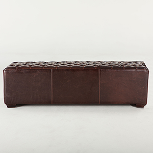 Small Tufted Leather Bench