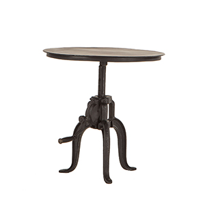 Reclaimed Metal Small Adjustable Crank Side Table