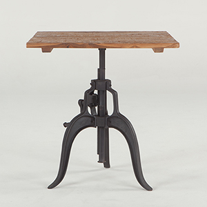 Adjustable Reclaimed Teak Wood and Iron Square Dining Table
