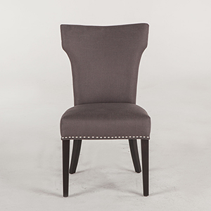 Charcoal Gray Dining Chairs with Nailhead Trim and Java Legs- Set of Two