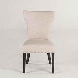 Beige Dining Chairs with Nailhead Trim and Java Legs- Set of Two