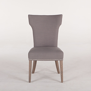 Gray Dining Chair with Nailhead Trim and Natural Legs- Set of Two