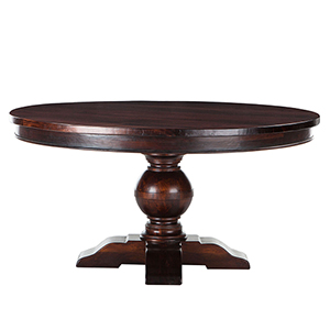 Mango Wood 54 Round Dining Table in Chestnut