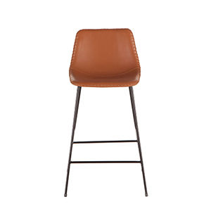 Tan Faux Leather Counter Height Stool- Set of Two