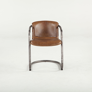 Set of Two Distressed Brown Leather Dining Chairs