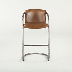 Set of Two Distressed Brown Leather Bar-Height Stools