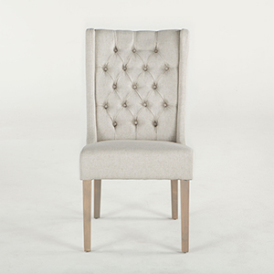 Set of Two Tufted Off-White Linen Dining Chairs