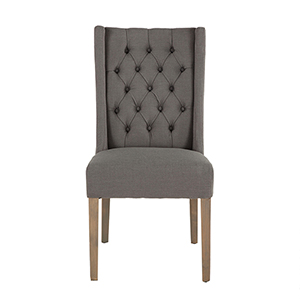 Set of Two Tufted Grey Linen Dining Chairs