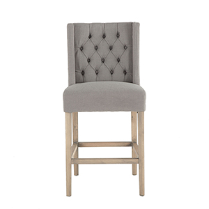 Tufted Grey Linen Counter-Height Barstool