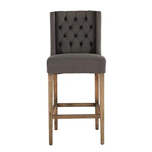 Tufted Grey Linen Barstool