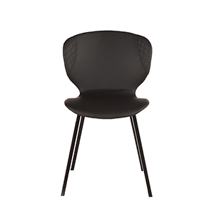Set of Two Black Faux Leather Dining Chairs