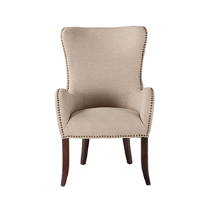 Beige Linen Arm Chair with Nailhead Trim by World Interiors