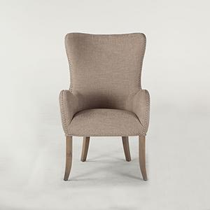 Textured Beige Linen Arm Chair with Nailhead Trim by World Interiors