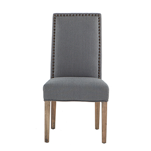 Set of Two Grey Linen Chairs with Nailhead Trim