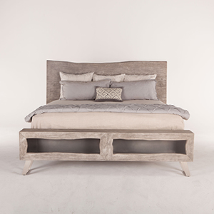 Acacia Wood King Bed in Weathered Grey