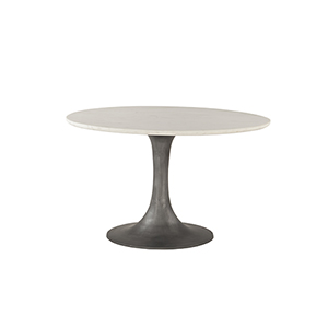 White Marble and Steel Round Dining Table