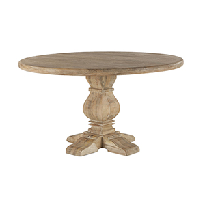 Mango Wood 54 Round Dining Table in Antique Oak