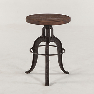 Reclaimed Teak and Cast Iron Backless Stool