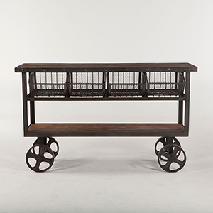 Reclaimed Teak 60 Bar Cart Table