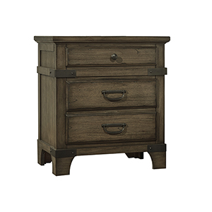 Wellington Vintage Brown Three Drawer Nightstand