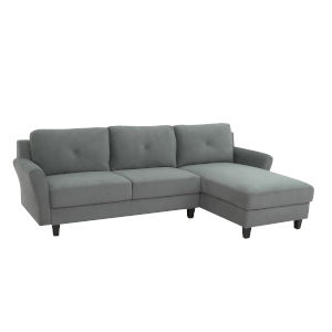Hanson Dark Gray Sectional Sofa with Rolled Arms