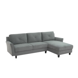Hanson Dark Gray Sectional Sofa with Curved Arms