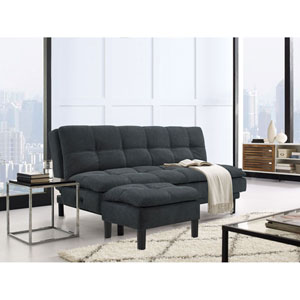 Maine Steel Grey Convertible Sofa with Ottoman