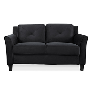 Harvard Black Loveseat with Curved Arm