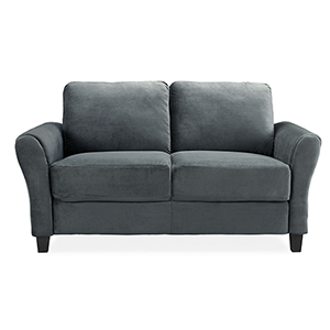 Wilshire Dark Grey Loveseat with Curved Arm