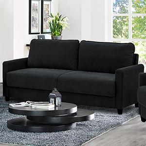 Sydney Black Polyester Sofa