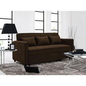 Relax A Lounger Sorenson Convertible Sofa in Dark Brown