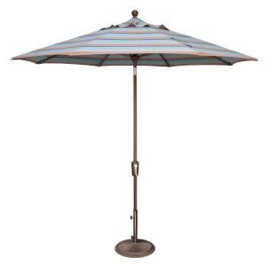 Catalina Gateway Mist Stripe and Bronze Push Button Market Umbrella