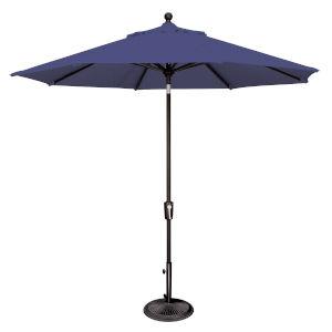 Catalina Sky Blue and Black 108-Inch Push Button Market Umbrella