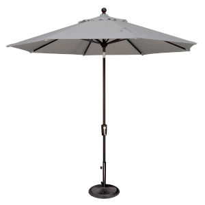 Catalina Gray Tweed and Black 108-Inch Push Button Market Umbrella