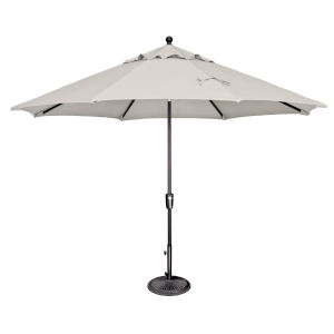 Catalina Natural and Black 132-Inch Push Button Market Umbrella