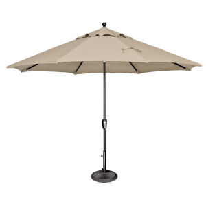 Catalina Antique Beige and Black 132-Inch Push Button Market Umbrella