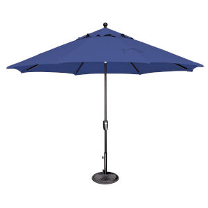 Catalina Sky Blue and Black 132-Inch Push Button Market Umbrella