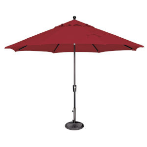 Catalina Really Red and Black 132-Inch Push Button Market Umbrella